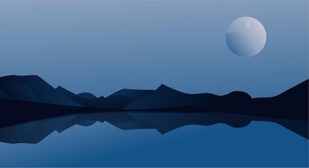 古典的な青い背景の自然のイラスト