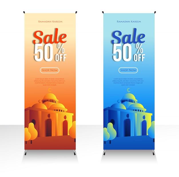 Рамадан продажи скидки баннеры с мечетью. акции и шаблоны покупок или на месяц рамадан и ид