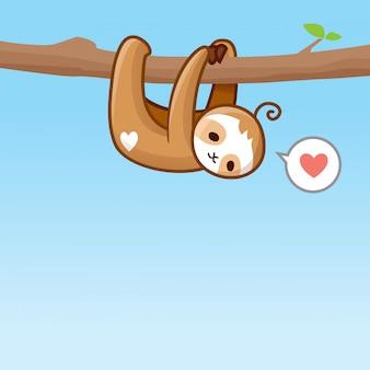 Симпатичные ленивец висит векторная иллюстрация