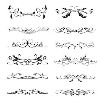 結婚式招待状のヴィンテージの古典的なビクトリア朝の装飾的な装飾的なディバイダーフレームデザイン。