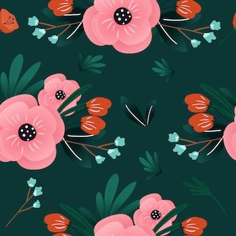 Симпатичные розовые цветочные бесшовные модели с естественным цветком ветви и листья для фона.