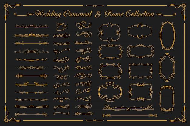 結婚式の豪華な金の飾りとビンテージフレームコレクションは招待状などに設定