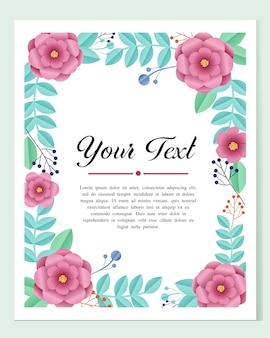 チラシ、パンフレット、オンラインメディアプロモーションのための美しい紙の花のフレームの枠線