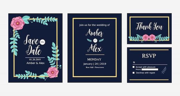 青とピンクの花をテーマにした結婚式の招待状セットのコレクション