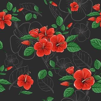 抽象的な暗い色ベクトルデザインの熱帯赤いハイビスカスの花のシームレスパターン背景。