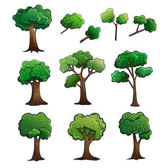 木と茎の漫画図面のベクトル図です。