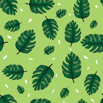 熱帯植物の葉のシームレスなパターン。
