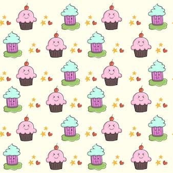 かわいいかわいいカップケーキベクトル漫画デザイン。