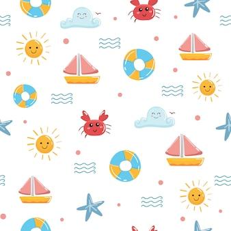 海のかわいい夏かわいいシームレスパターンベクトル。