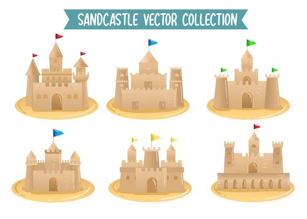 Песчаный замок векторная коллекция набор рисования вектор