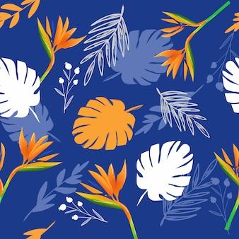 熱帯の夏の抽象的な植物は青い色の背景シームレスパターンを葉します。