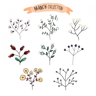 カラフルな花と枝は結婚式の招待状に使用できます