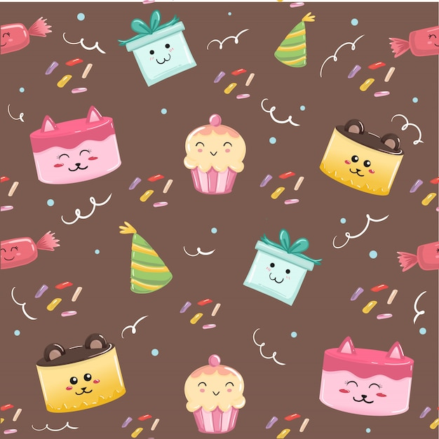 茶色の背景デザインの印刷のためのかわいいお誕生日おめでとうシームレスパターン飾り。