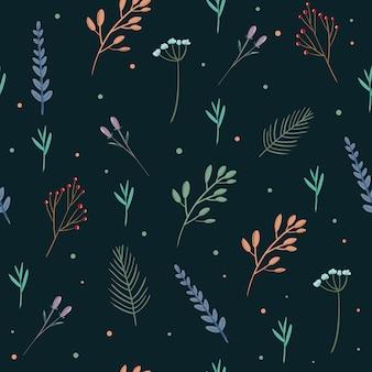 Бесшовный фон с красочными весенних полевых цветов и лавров