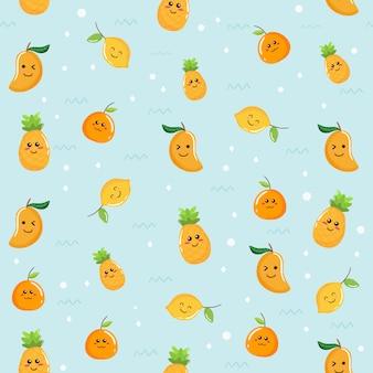 熱帯かわいい黄色の果実のシームレスパターンデザイン