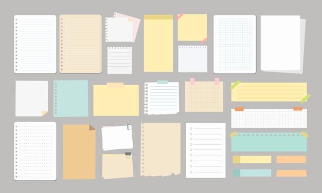 大きなメモと紙の要素の学校のスクラップブック