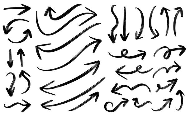 矢印ブラシ大きなセットコレクション手描き