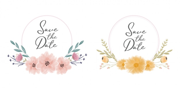 水彩花で日付フレームの花輪を保存する