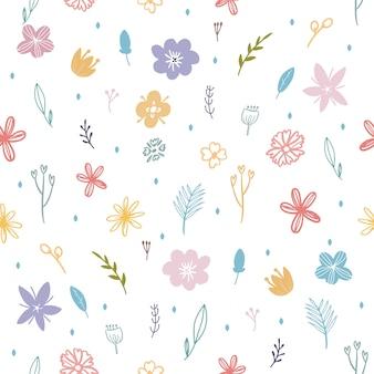 カラフルな春の花と葉のシームレスパターン