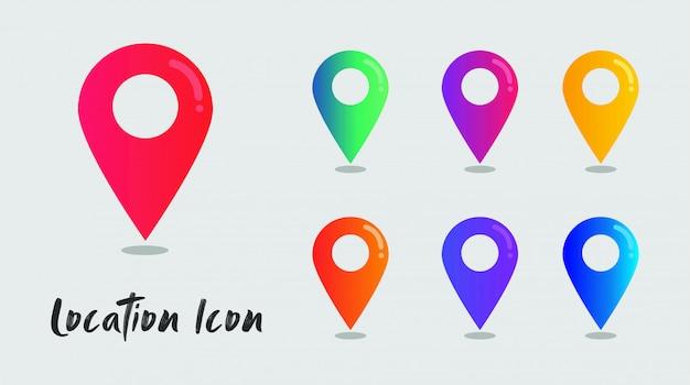 Набор иконок градиента местоположения для веб онлайн
