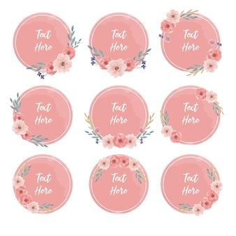 丸い水彩花のフレームテキストバナーコレクション