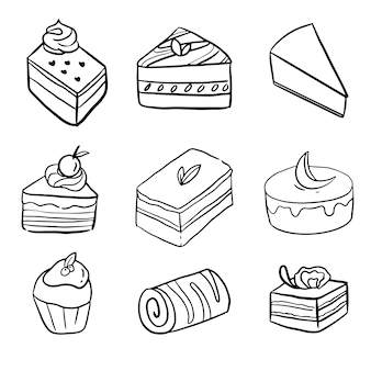 手描きのミニケーキ落書きラインアートの大きなセットコレクション