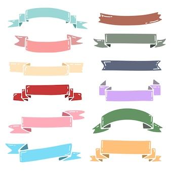 かわいいパステルカラーのリボンベクトルコレクション。結婚式招待状のためのパステルリボンのセット