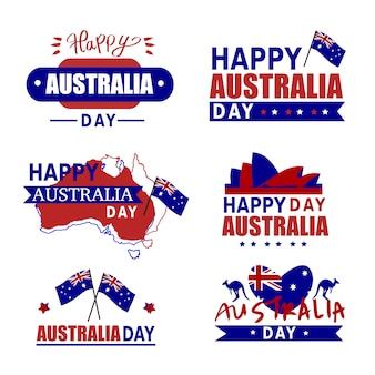 オーストラリアの日バッジ。オーストラリアのアイコンセット、カンガルー。ハッピーオーストラリアデー。オーストラリアの地図