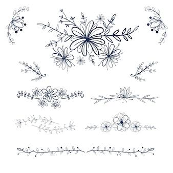 手描きの花と結婚式の飾りとフレームの渦巻き。