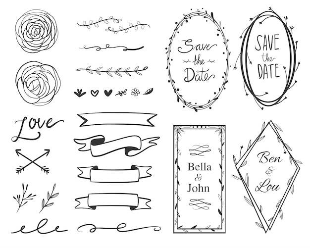 結婚式は、日付飾り枠ラベルコレクションセットを保存します。渦巻き、矢印、バナー、および花のフレームのコレクション。