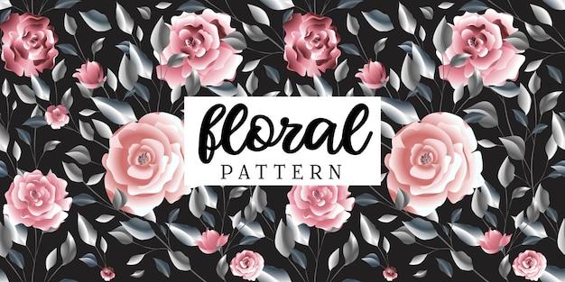 ピンクのバラの花の葉柄の布プリント