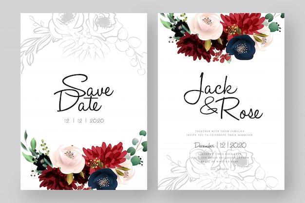 ブルゴーニュと赤面の花の結婚式のカード