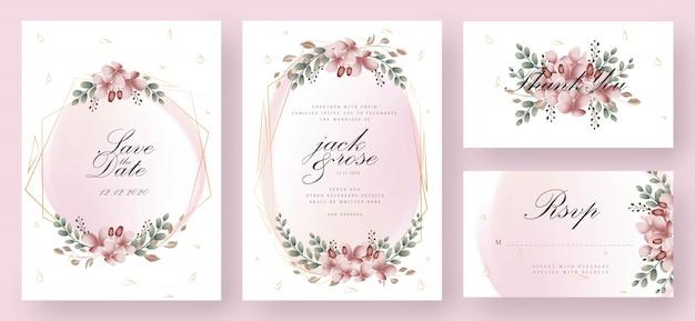 ピンクとゴールドの花の結婚式の招待状