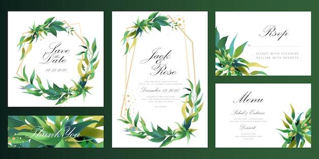 ユーカリ植物フレームの結婚式の招待カード