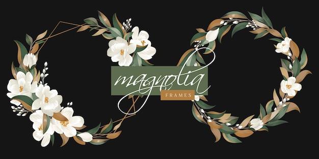 Цветочная рамка с листьями магнолии