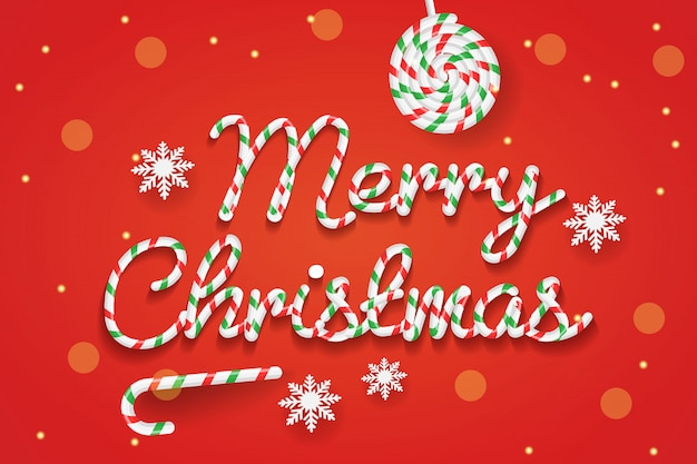 Рождественский фон с конфеты текстовый эффект