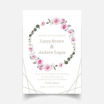 結婚式招待状花バラとユーカリの葉