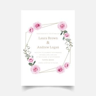 Свадебные пригласительные цветочные розы и эвкалиптовый лист