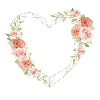 花の庭のバラと美しいハートフレーム