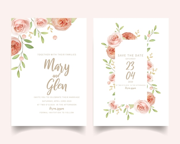 花の庭のバラと花の結婚式の招待状