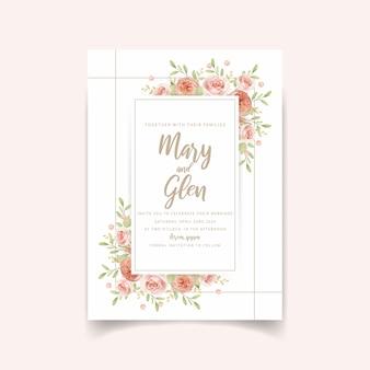 Свадебные пригласительные цветочные с цветочными садовыми розами
