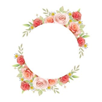花のバラと美しいフレームの背景