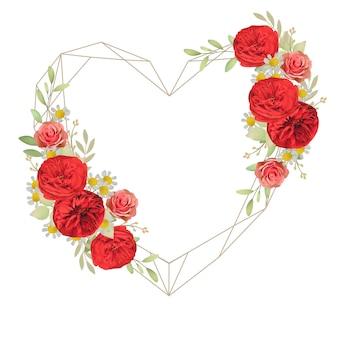 花の赤いバラと美しい愛フレームの背景