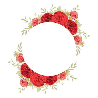 花の赤いバラと美しいフレームの背景