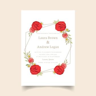 花の赤いバラの結婚式の招待状