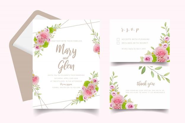 花のピンクのバラと結婚式の招待カードのテンプレート