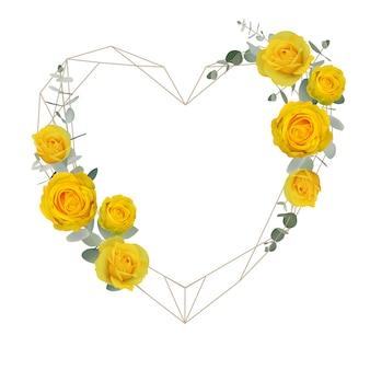 花の黄色いバラと美しい愛フレームの背景