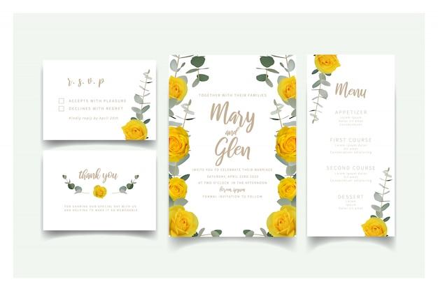 Свадебные приглашения с желтыми цветочными розами