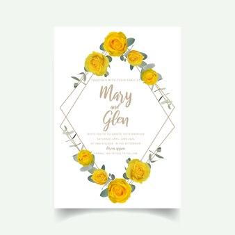 花の黄色いバラの結婚式の招待状