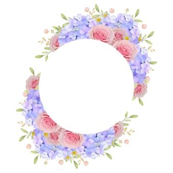花のピンクのバラとアジサイの美しいフレームの背景